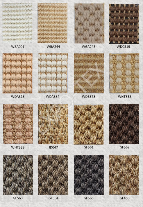 Sisal fiber is havested from sisal plant, dye into many colors and design with many patterns. It can also be combine with other materials like wool.